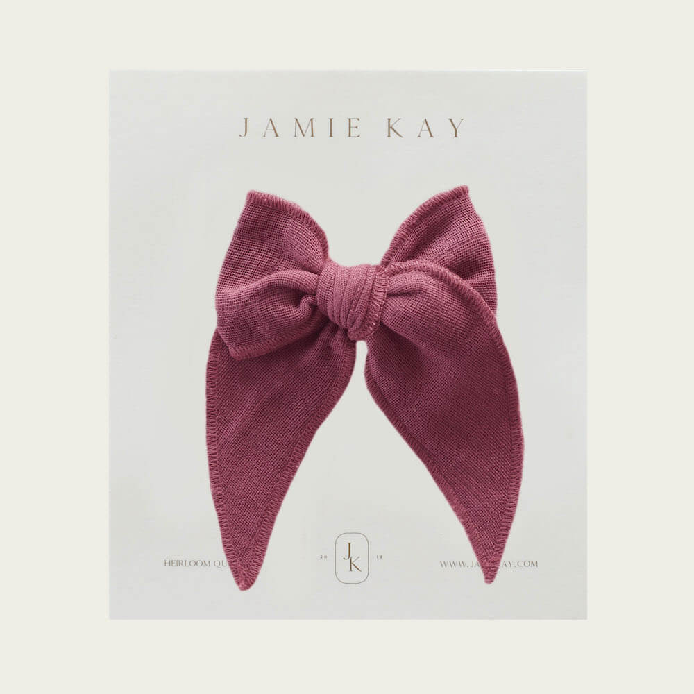 Jamie Kay Organic Cotton Muslin Bow Sugar Plum | Tiny People
