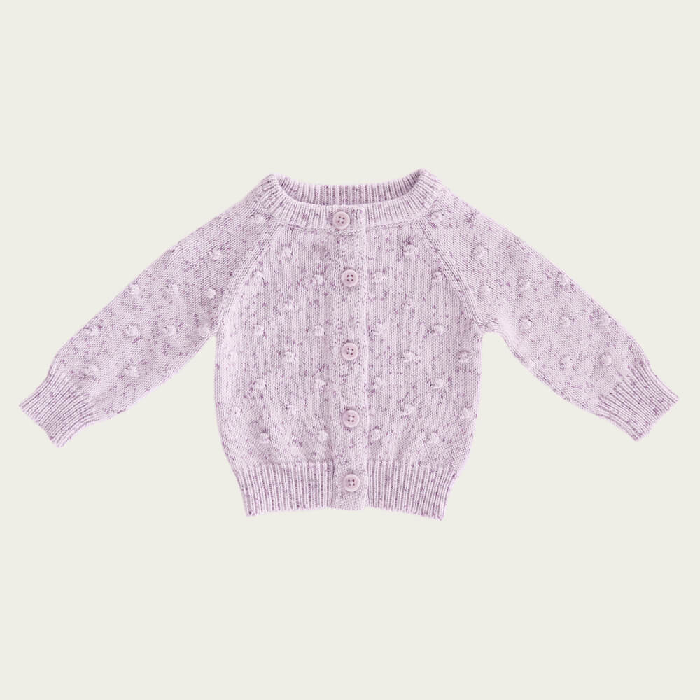 Jamie Kay Dotty Cardi Lilac Fleck| Tiny People