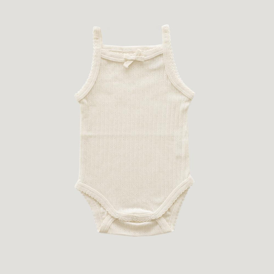 Singlet Bodysuit Pointelle Natural