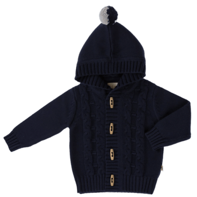 Jujo Baby Cable Knit Jacket - Navy - Tiny People Cool Kids Clothes Byron Bay