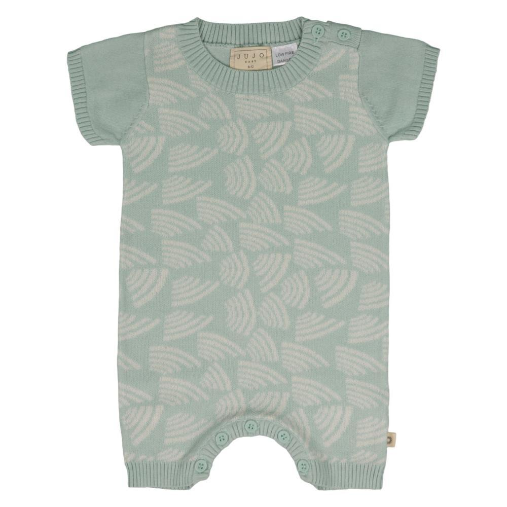 Jujo Baby Curved Lines Onesie - Mint / Ecru - Tiny People Cool Kids Clothes Byron Bay