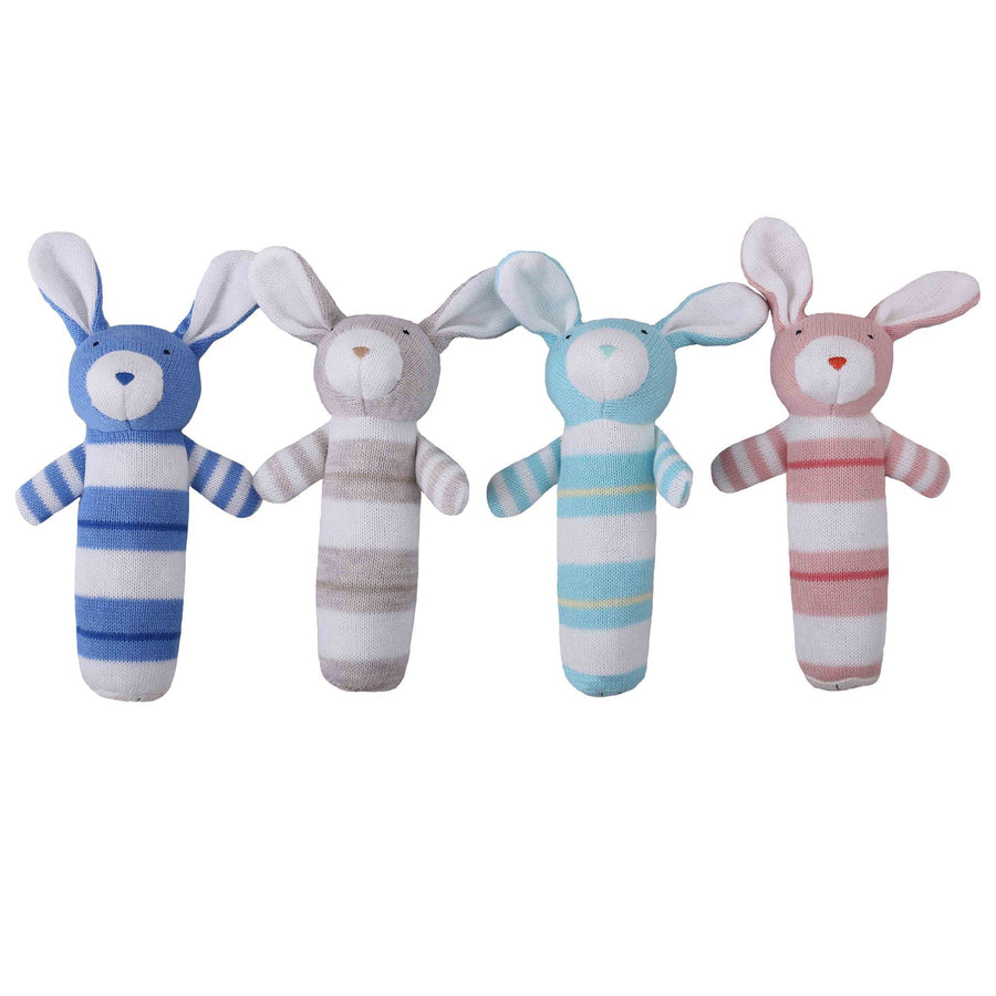 Knitted Rabbit Rattle - Mint