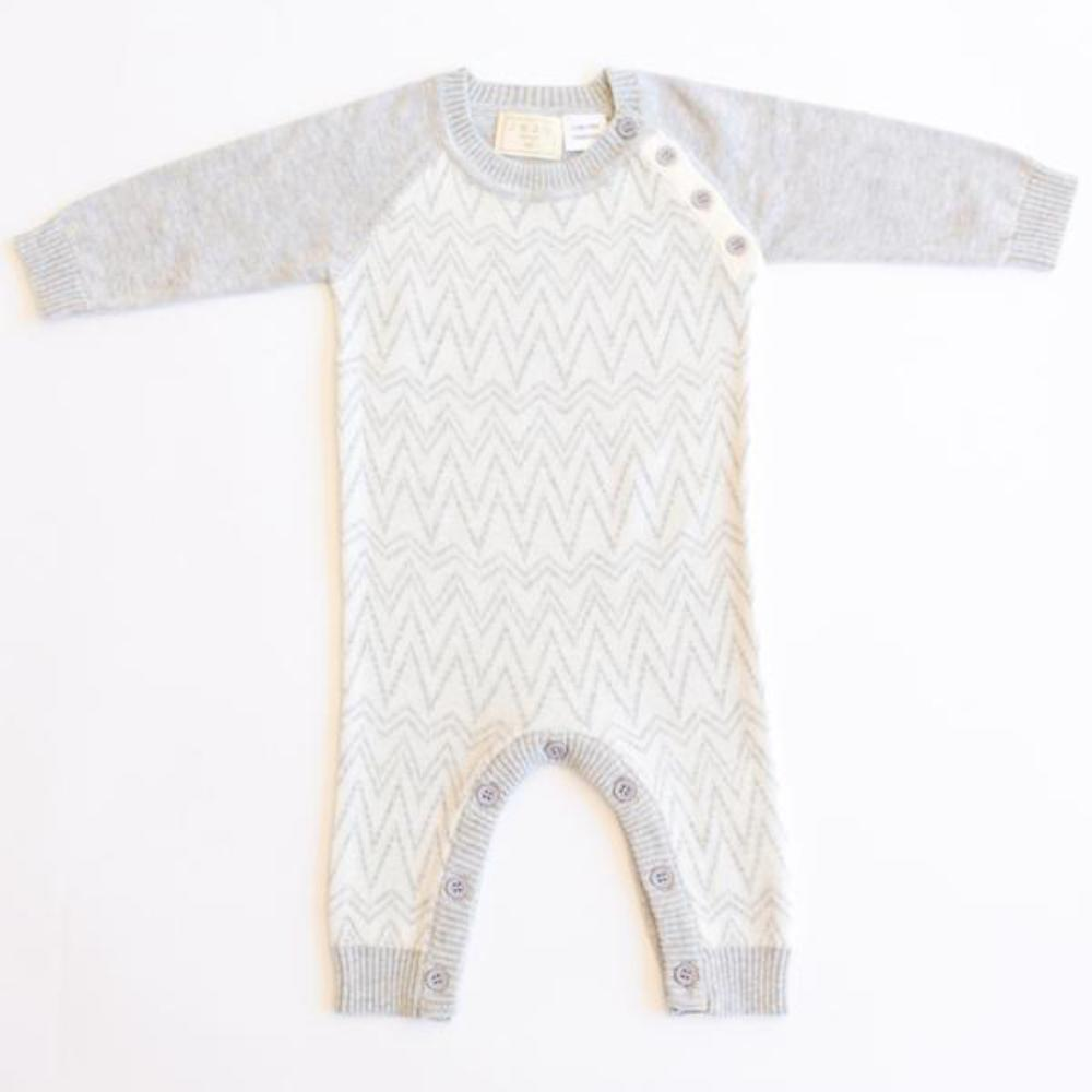 Jujo Baby Zigzag Onesie - Silver / Ecru - Tiny People Cool Kids Clothes Byron Bay