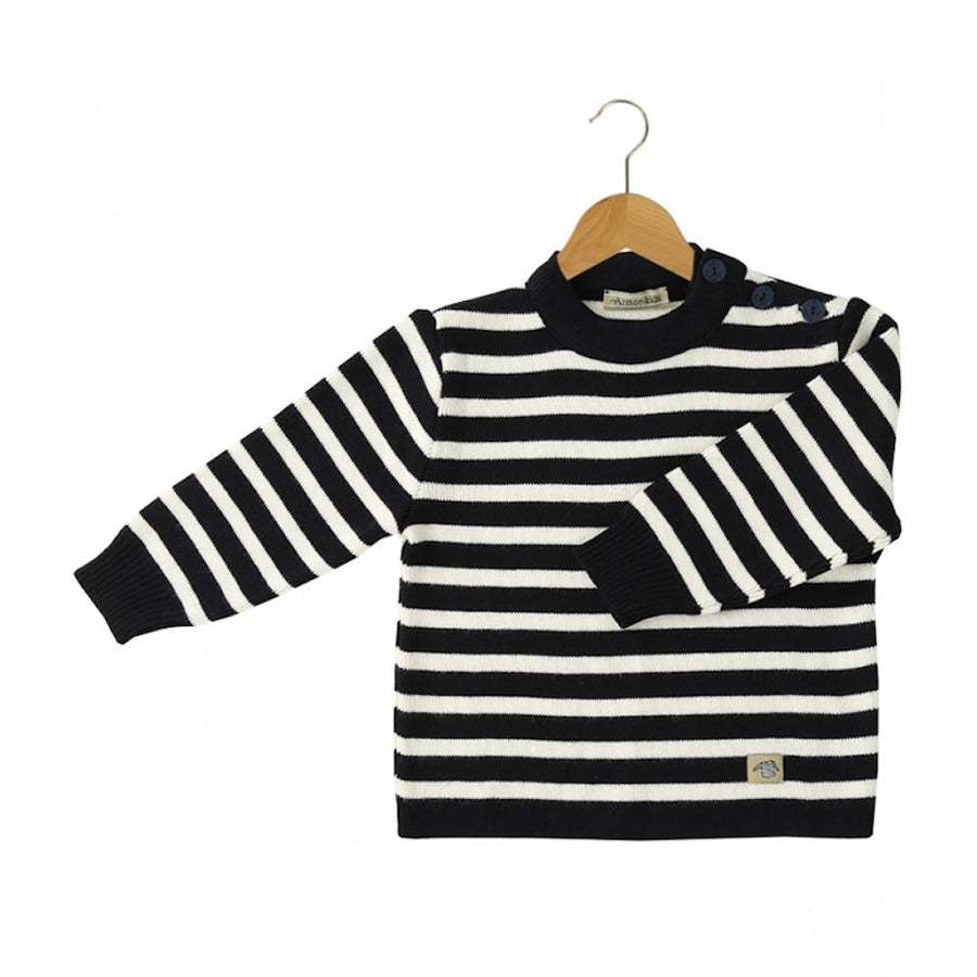 Baby Fisherman Jumper Navy Blue Stripe