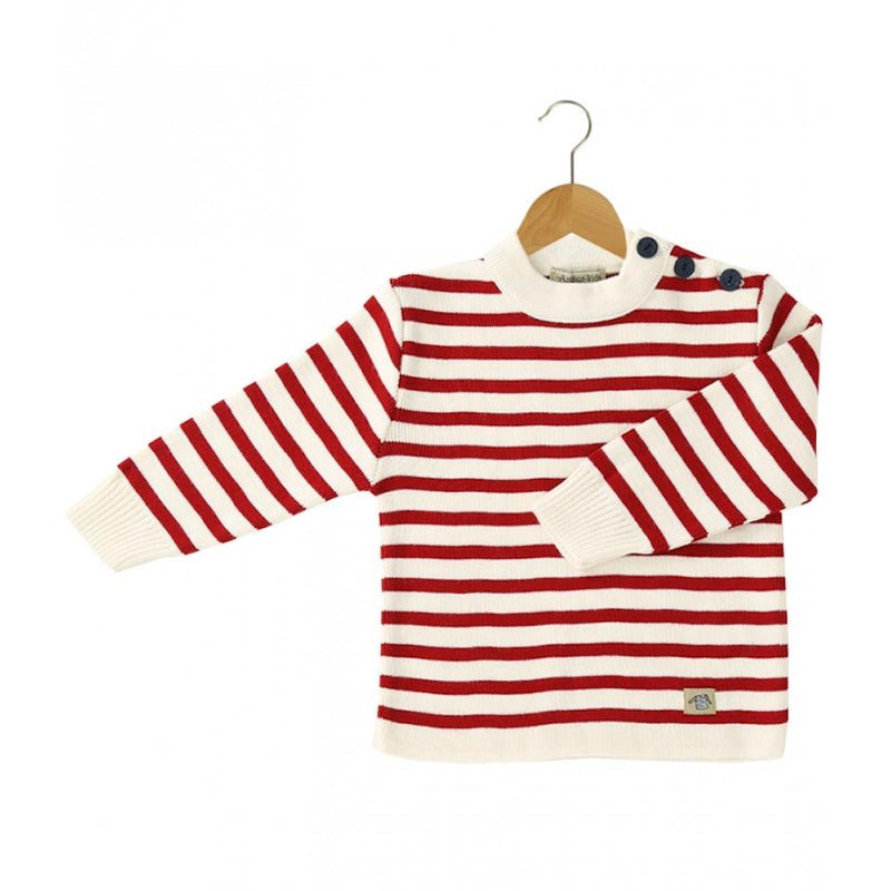 Fisherman Jumper Cherry Red Stripe