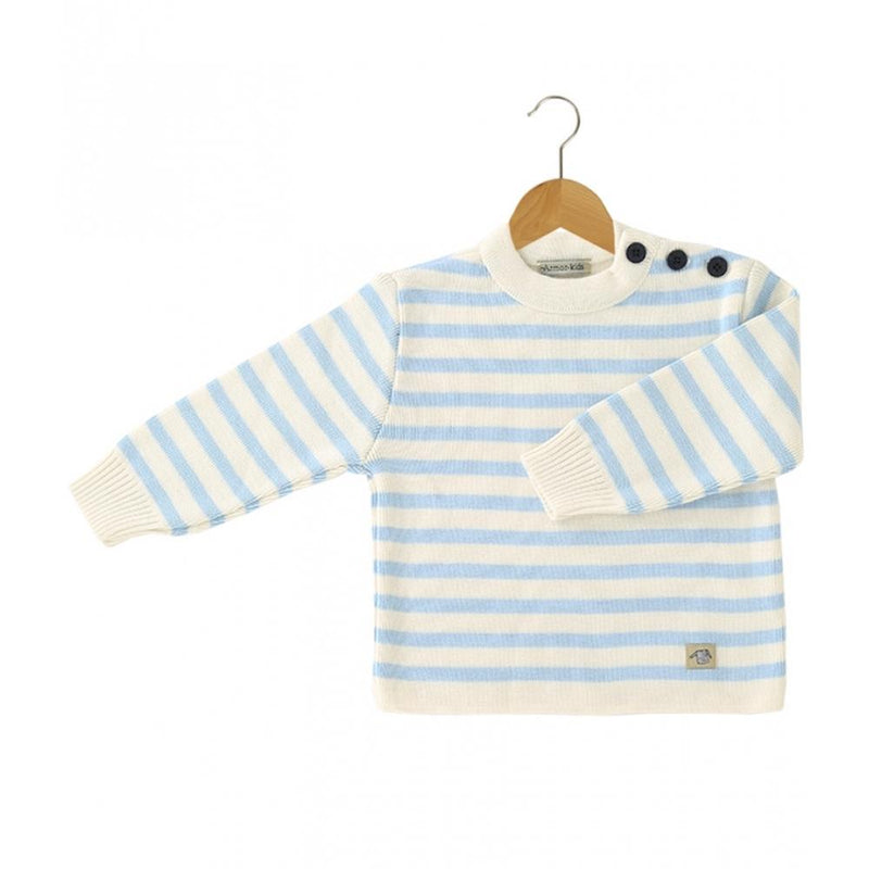 Fisherman Jumper Pale Blue Stripe