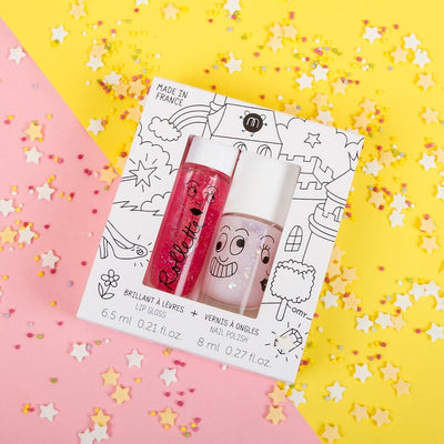 Nailmatic Kids Lip Gloss & Nail Polish Gift Pack: Fairy Tales (2pcs) Girls Accessories - Tiny People Cool Kids Clothes