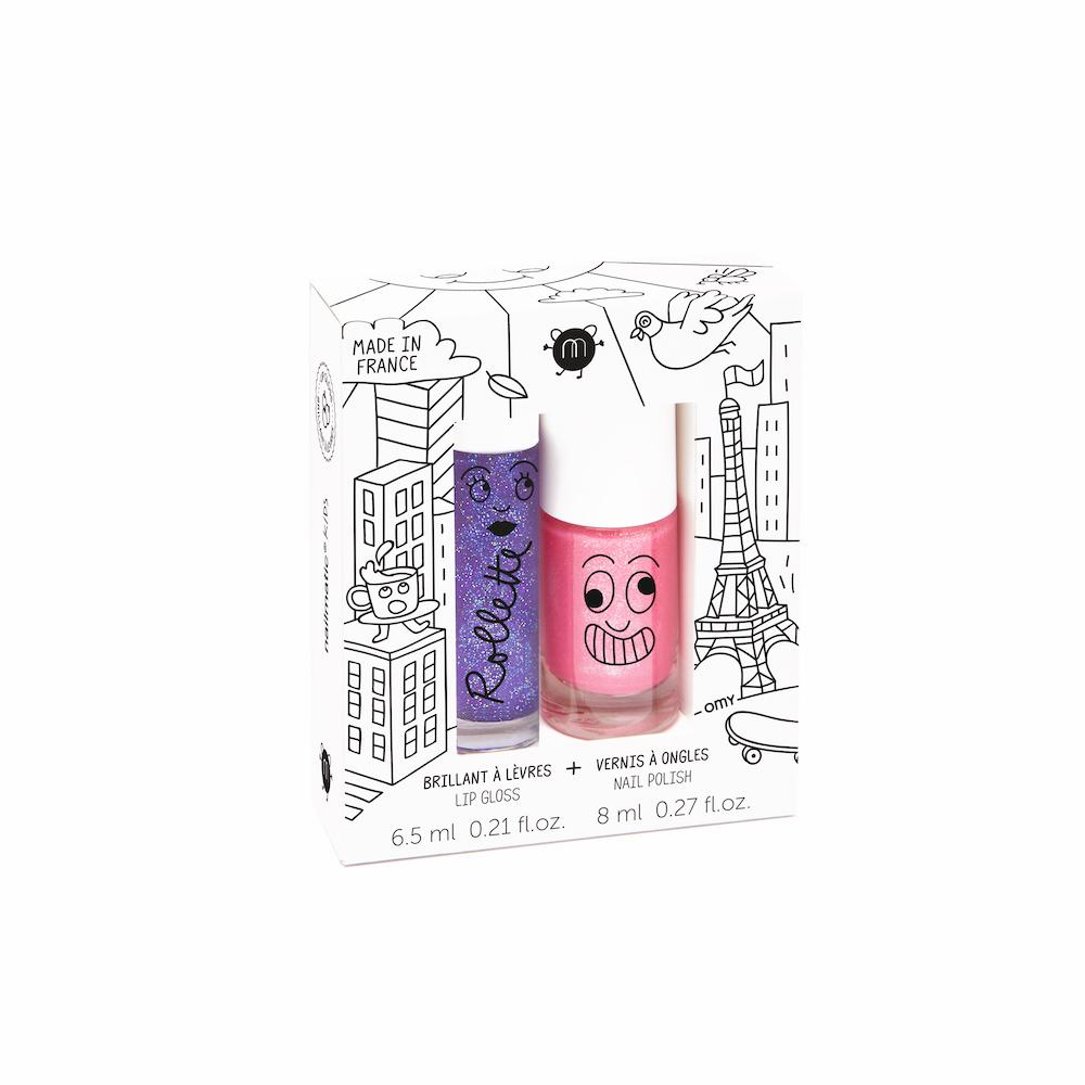Nailmatic Kids Lip Gloss & Nail Polish Gift Pack: Lovely City (2pcs) Girls Accessories - Tiny People Cool Kids Clothes