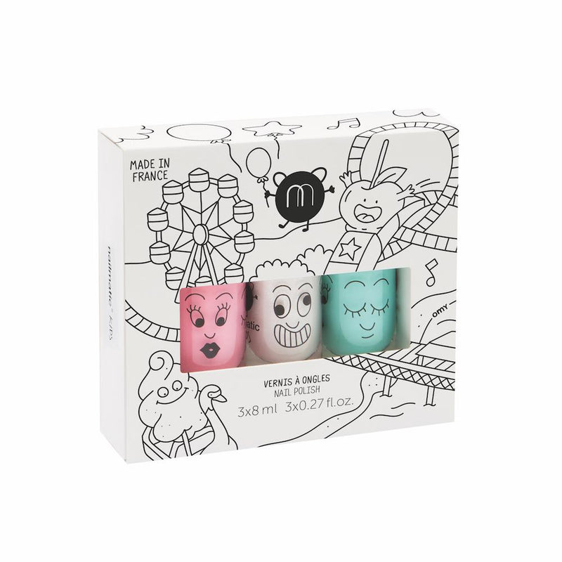 Nailmatic Kids Nail Polish Gift Box: Funfair (3 Pcs) Girls accessories - Tiny People Cool Kids Clothes