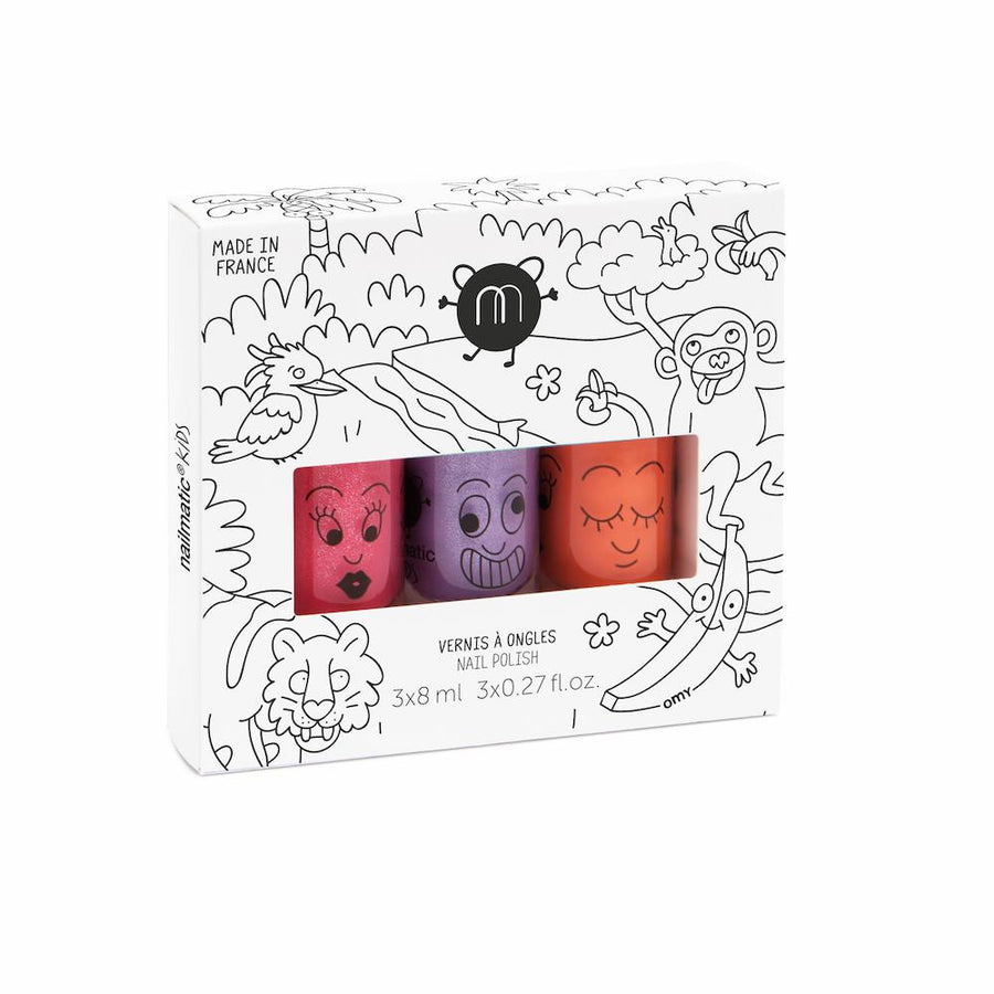 Kids Nail Polish Gift Box: Jungle (3 Pcs)