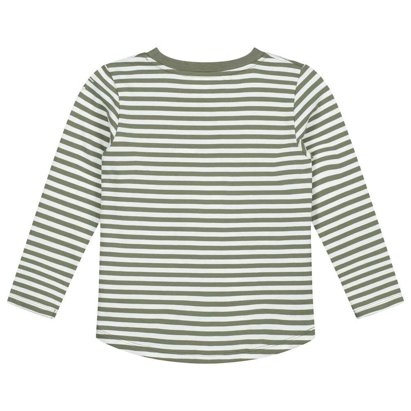 Gray Label Striped L/S Tee (Moss/Cream Stripe) | Tiny People