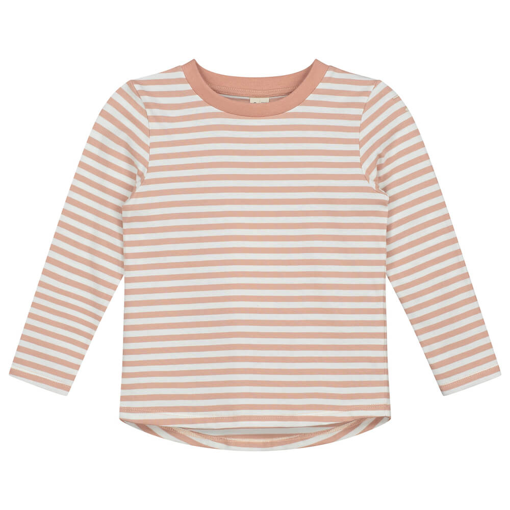Gray Label Striped L/S Tee (Clay/Cream Stripe) | Tiny People