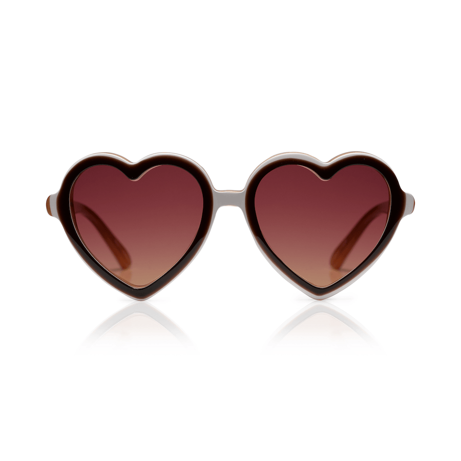 Sons + Daughters Lola heart sunglasses in Chocolate Layer at Tiny People Shop Australia.