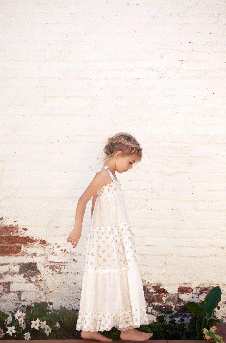 Tocoto Vintage Flower Print Long Dress - Tiny People Cool Kids Clothes Byron Bay