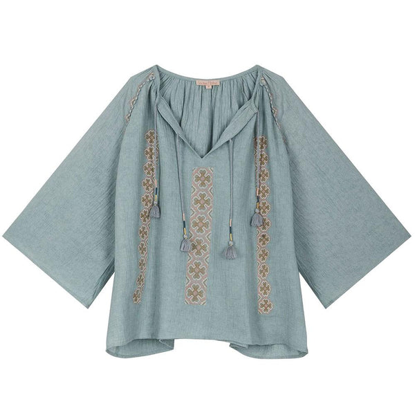 Louise Misha Women's Muri Blouse Vintage Blue - Tiny People Cool Kids Clothes Byron Bay