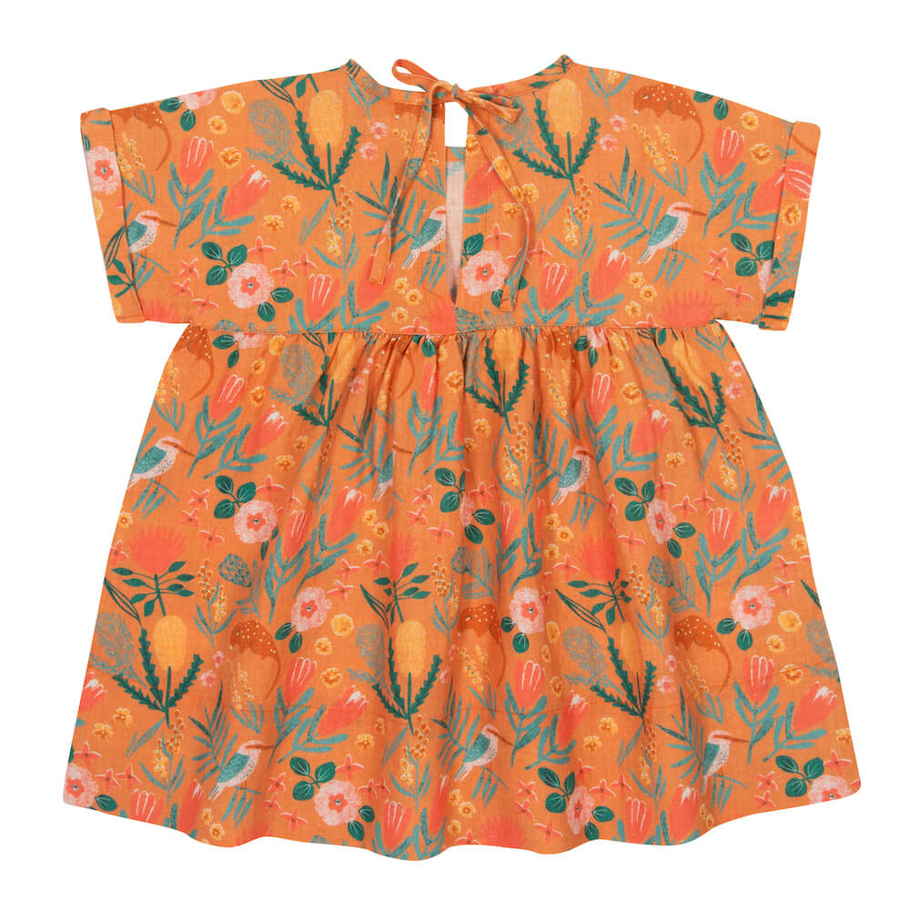 Goldie & Ace Lulu Dress Native Garden Terracotta | Tiny People