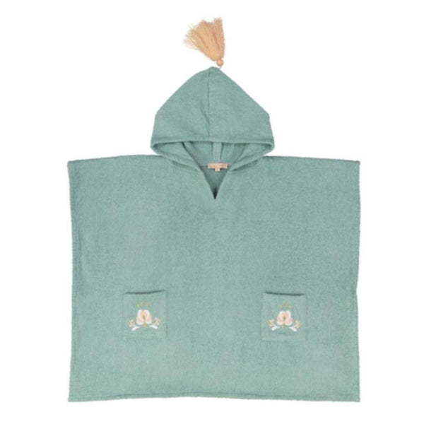 Mantelita Bath Poncho towel in Vintage Blue at Tiny People shop.