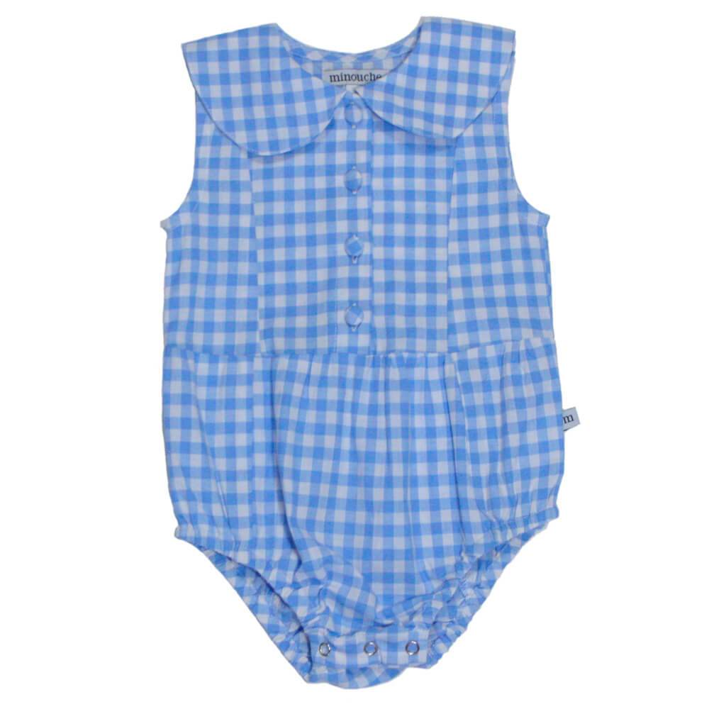 Minouche Evie Playsuit Blue White Check | Tiny People