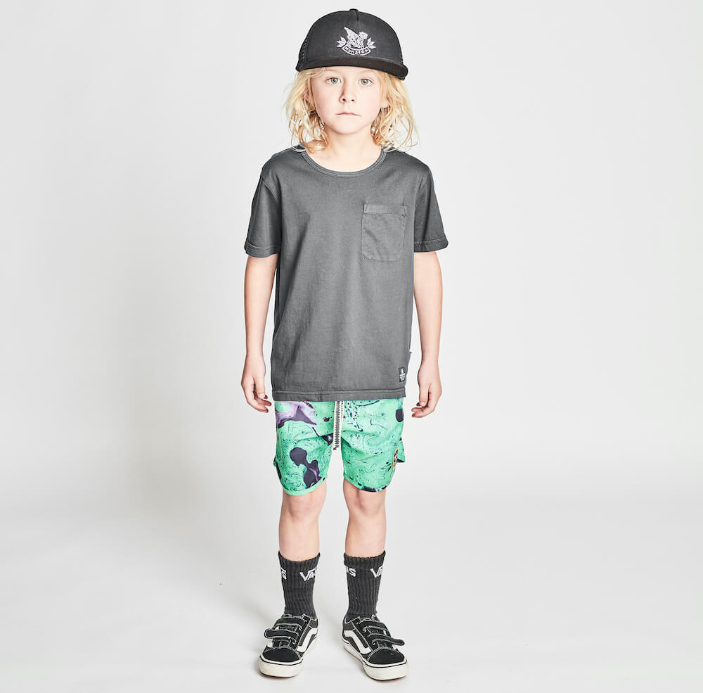 Munster Liquify Boardshort Green Splatter | Tiny People Shop