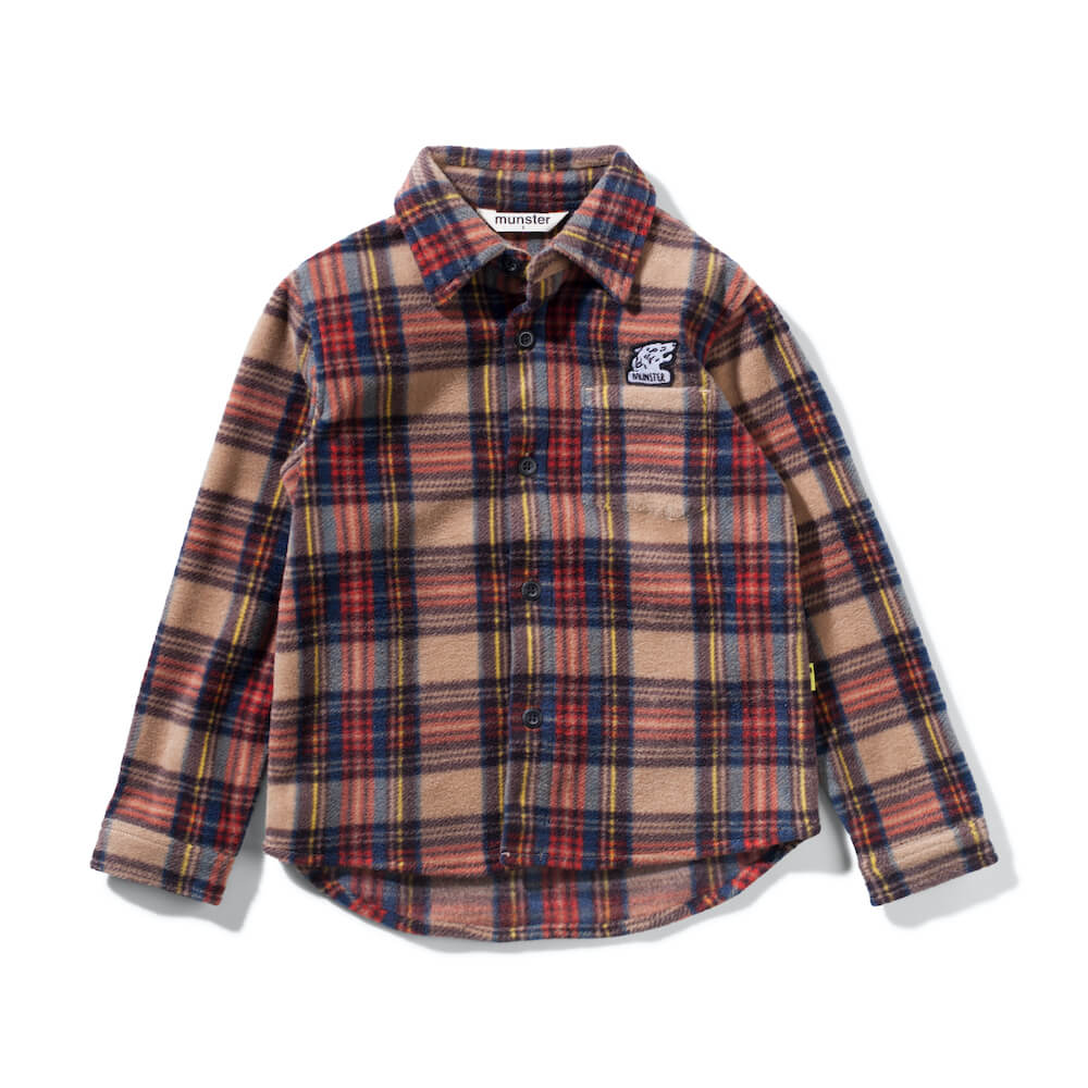 Munster Kids Polar Flannal Shirt Tan Check | Tiny People Shop Australia Online