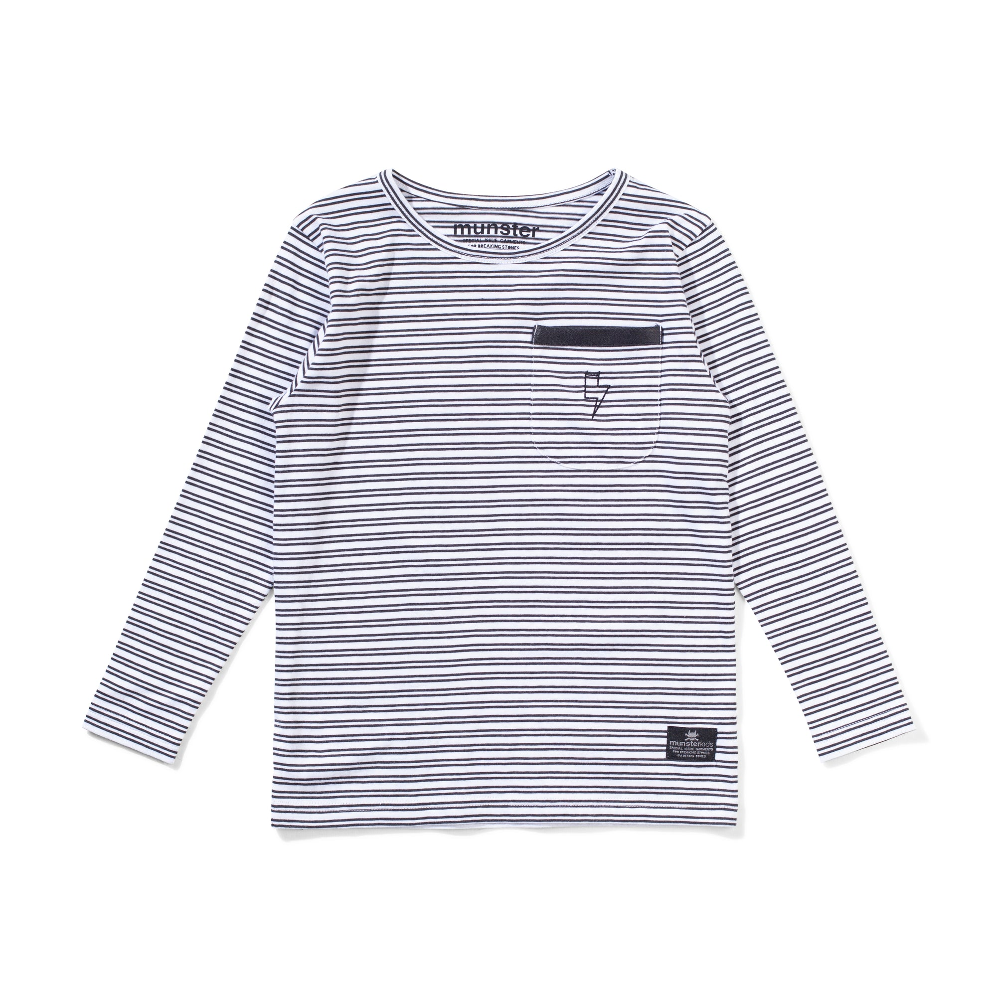 Lines LS Tee White/Soft Black Stripe