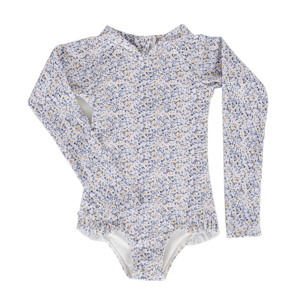 Peggy Violet Long Sleeve Swimsuit Mini blue Floral | Tiny People
