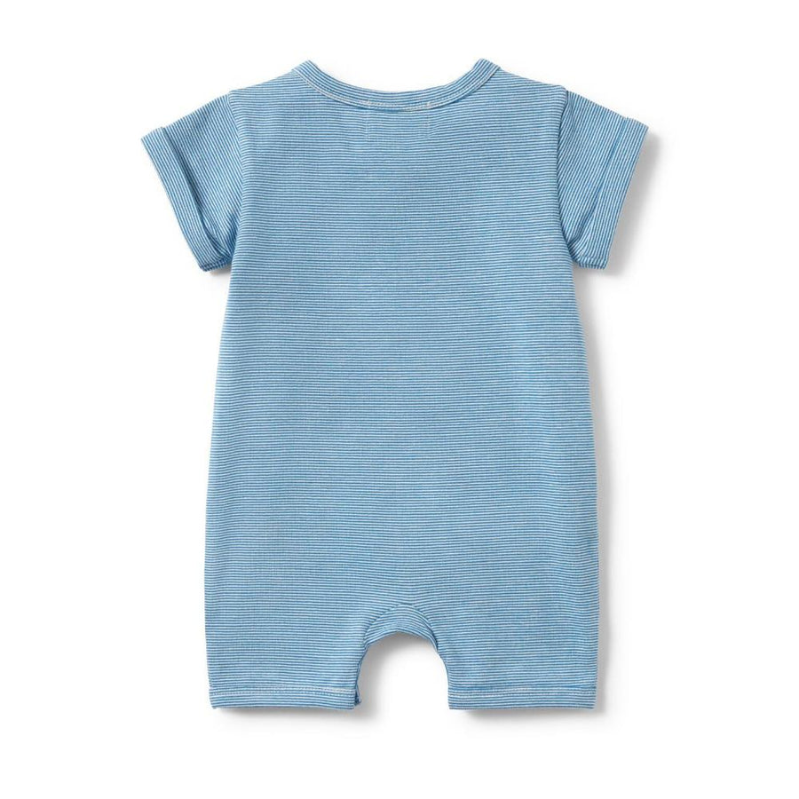 Wilson and Frenchy Mediterranean Blue Stripe Placket Detail Boyleg Growsuit - Tiny People Cool Kids Clothes Byron Bay
