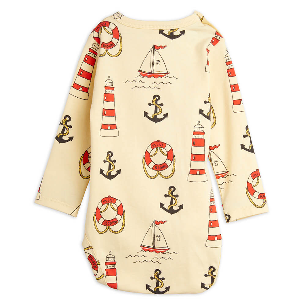 Mini Rodini Lighthouse L/S Bodysuit (Yellow) | Tiny People