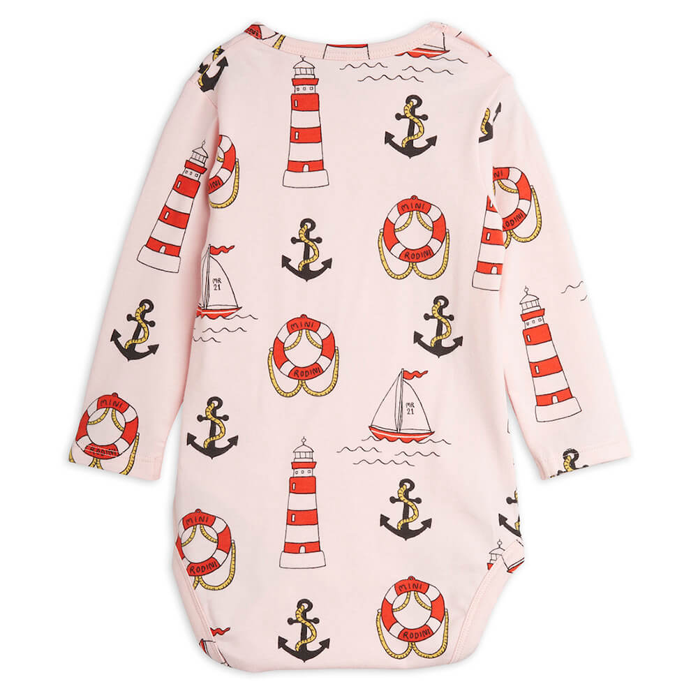 Mini Rodini Lighthouse L/S Bodysuit (Pink) | Tiny People