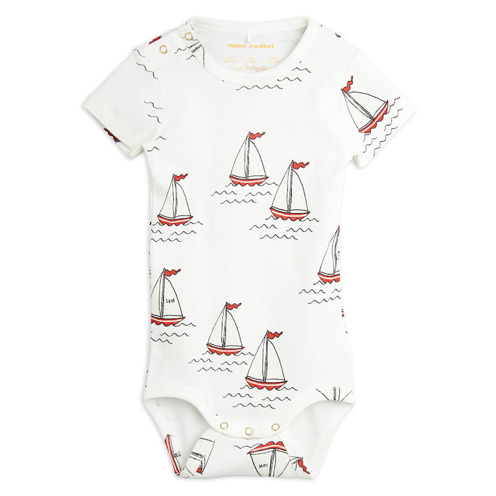 Mini Rodini Sailing Boats S/S Bodysuit | Tiny People