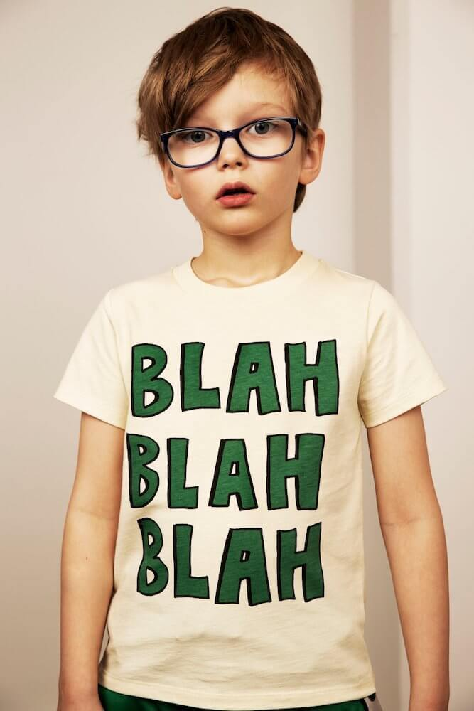 Mini Rodini Blah Off-White SS Tee | Tiny People