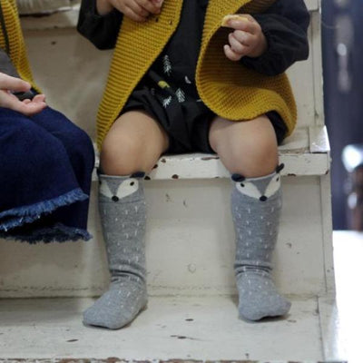 Mini Dressing Raccoon Knee High Socks - Grey - Tiny People Cool Kids Clothes Byron Bay
