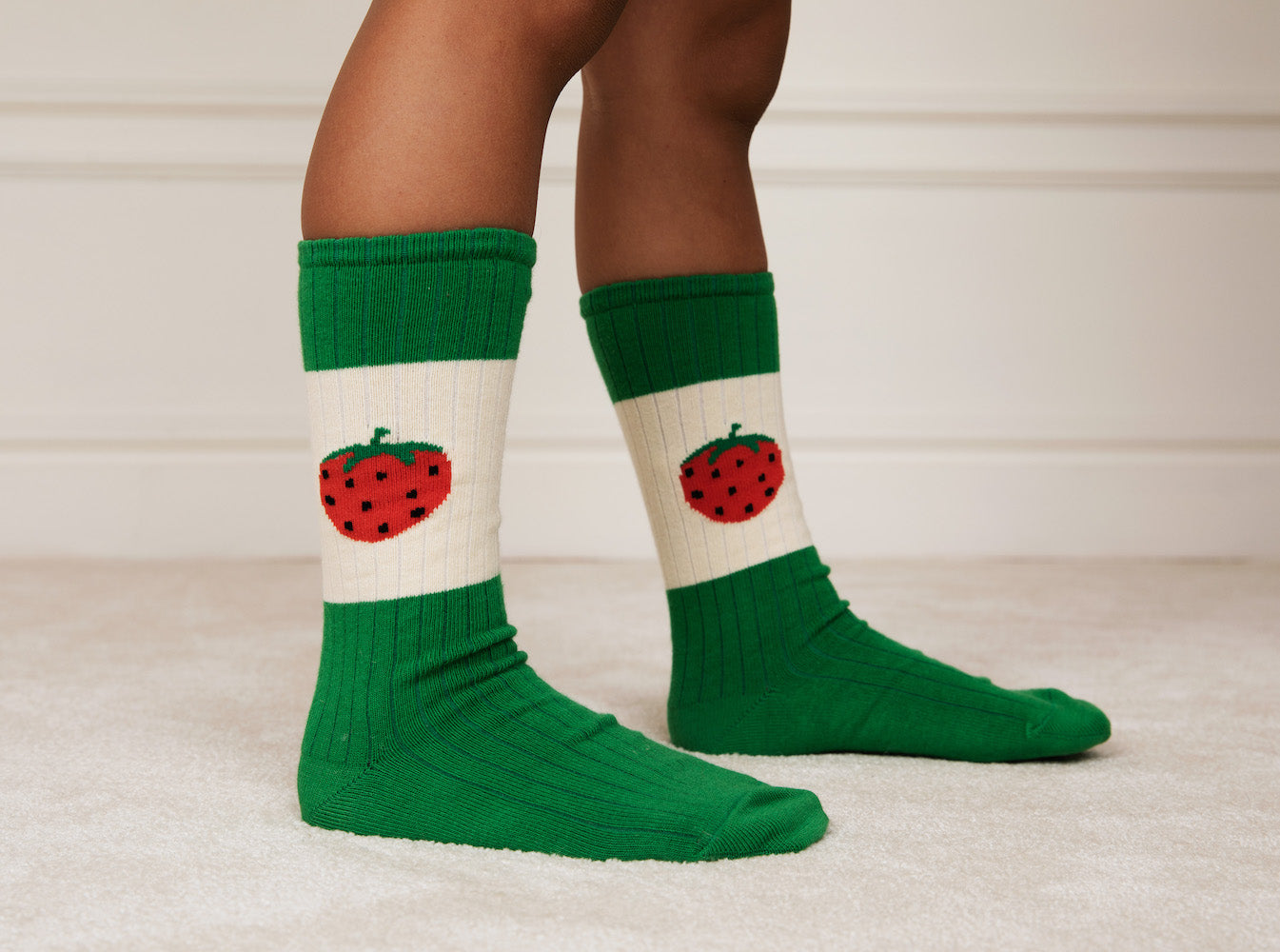 Mini Rodini Strawberry Ribbed Socks (Green) | Tiny People