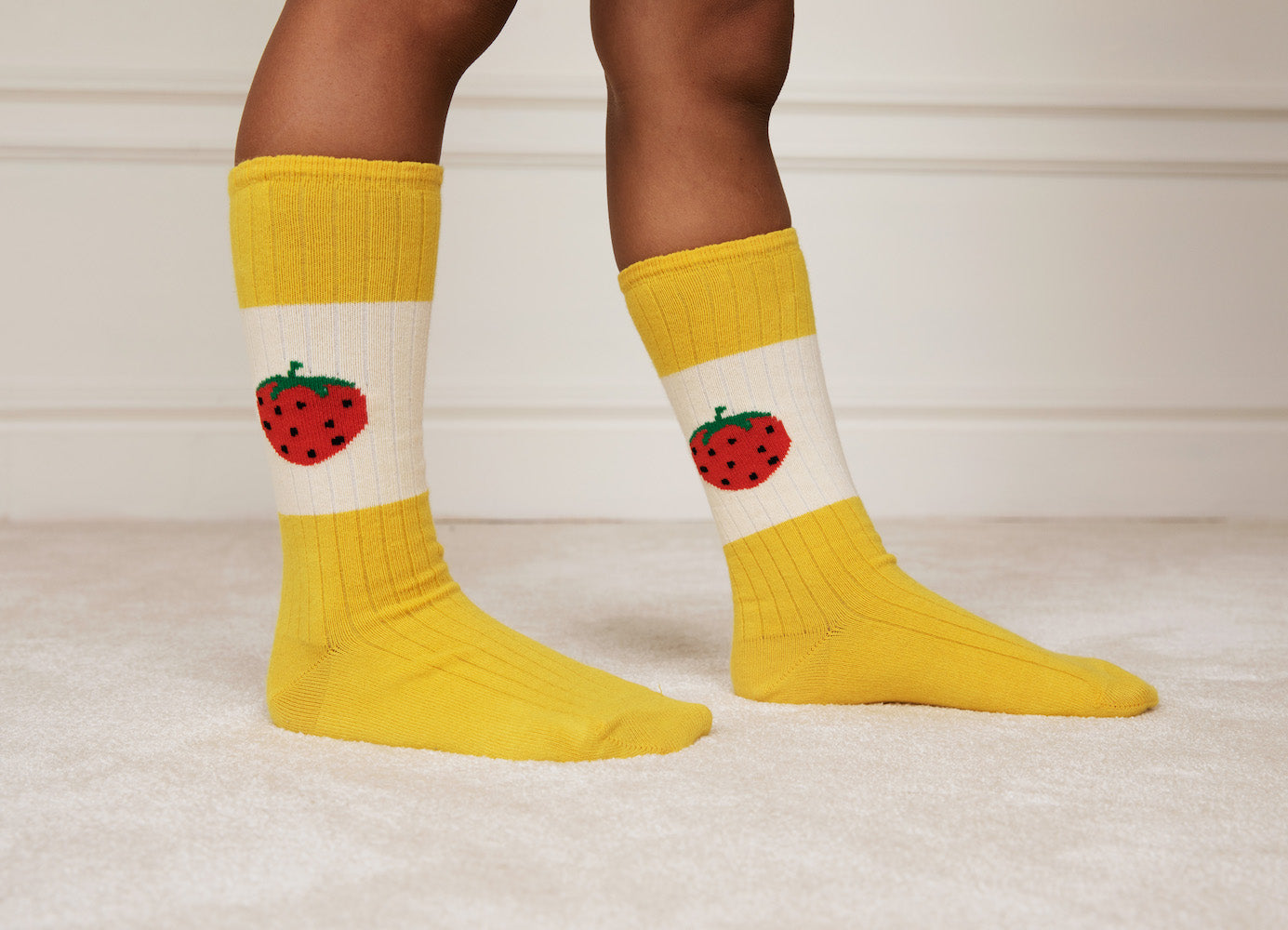Strawberry Ribbed Socks (Yellow)