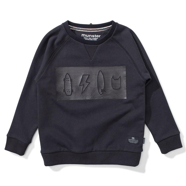 Munster Kids Icon HD Crew Black - Tiny People Cool Kids Clothes Byron Bay