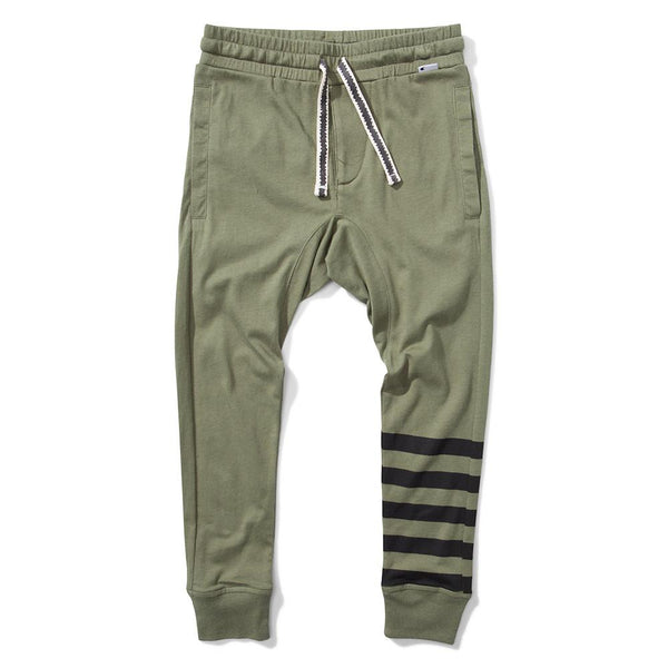 Munster Kids 4 Stripe Jersey Pant Olive - Tiny People Cool Kids Clothes Byron Bay