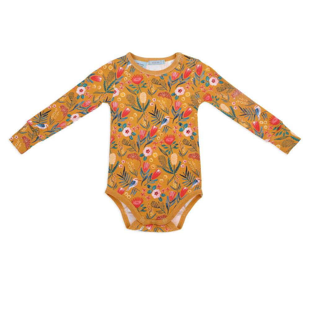 Goldie & Ace Native Garden Long Sleeve Bodysuit Romper - Tiny People Cool Kids Clothes