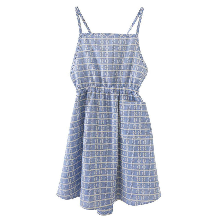 Rose Block Apron Dress Blue
