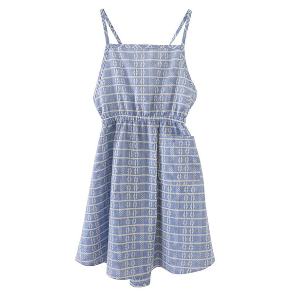 Nico Nico Rose Block Apron Dress Blue - Tiny People Cool Kids Clothes Byron Bay