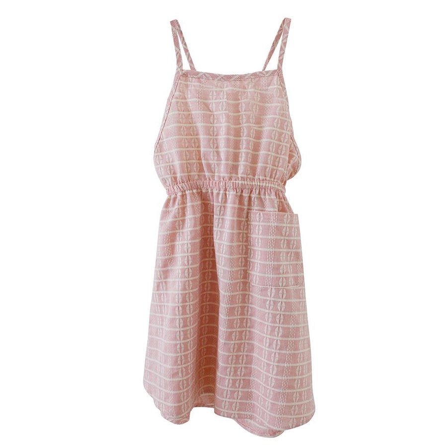 Rose Block Apron Dress Pink