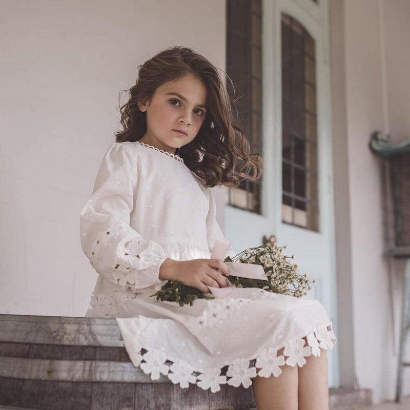 Petite Amalie Daisy Chain Dress White | Tiny People