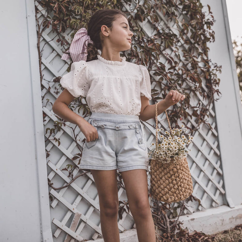 Petite Amalie Denim Button Short | Tiny People