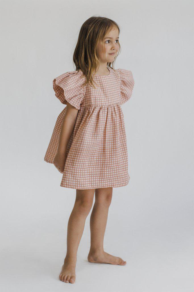 Fox & Horn Party Dress in Blush Gingham at Tiny People Shop Australia.