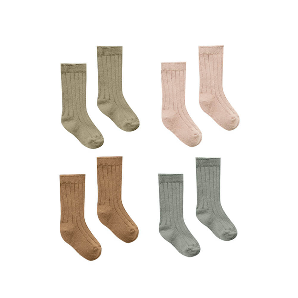 Quincy Mae Baby Socks 4 Pack Olive, Walnut, Petal, Eucalyptus | Tiny People
