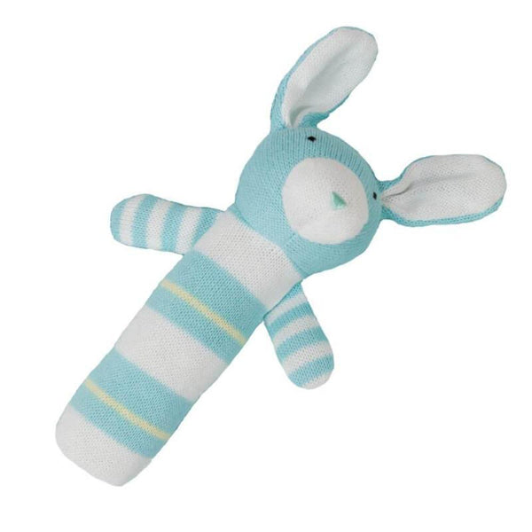 Jujo Baby Knitted Rabbit Rattle - Mint - Tiny People Cool Kids Clothes Byron Bay