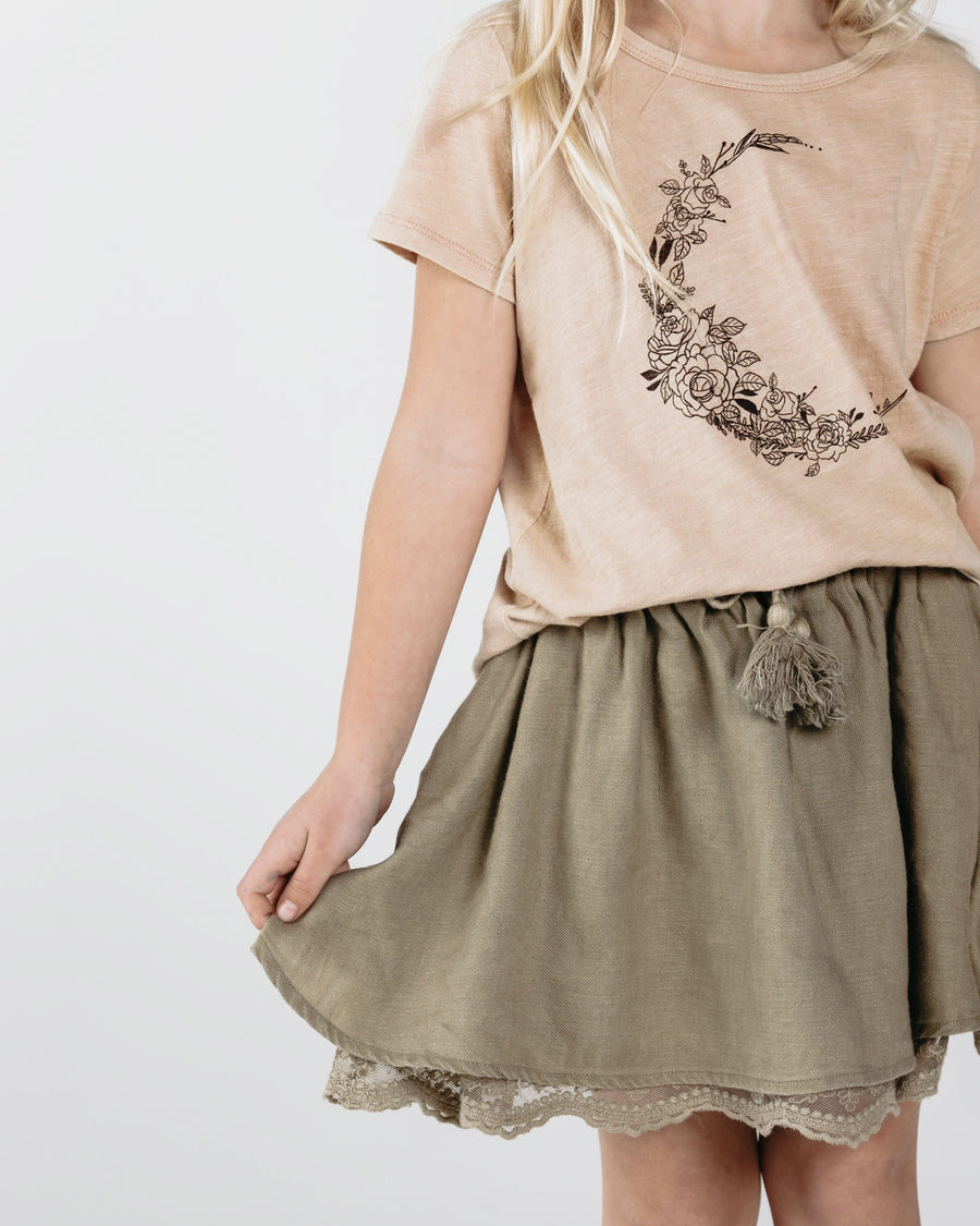 Rylee & Cru Solid Olive Mini Skirt - Tiny People Cool Kids Clothes Byron Bay