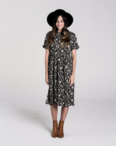 Rylee & Cru Women's Kat T-Shirt Dress in Midnight Floral at Tiny People shop.