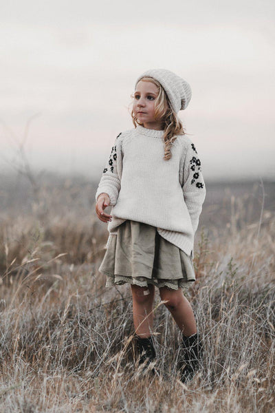 Rylee & Cru Embroidered Chenille Sweater Floral at Tiny People Australia.