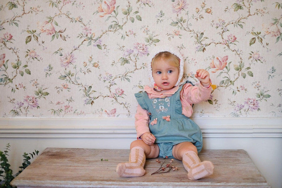 Louise Misha Ritaka Romper in Almond at Tiny People.