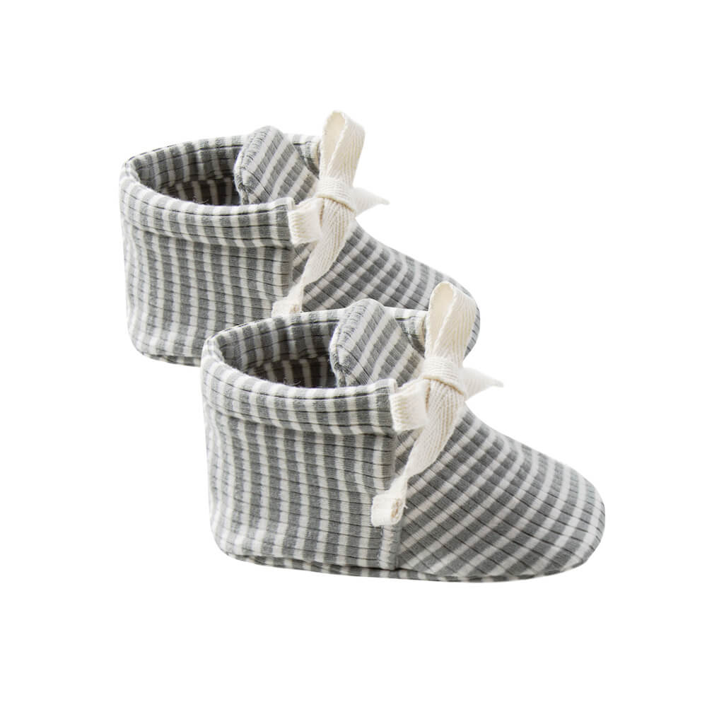 Quincy Mae Baby Booties  Eucalyptus Stripe | Tiny People